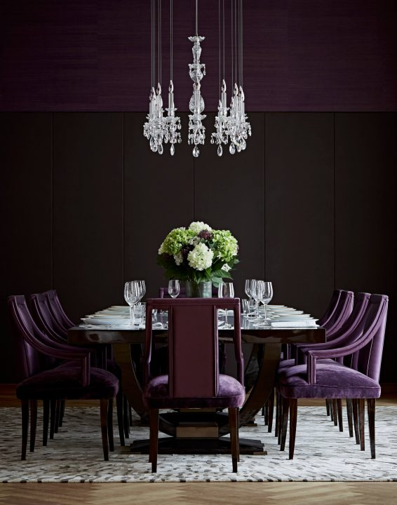 Balance Chandelier and Purple Chairs